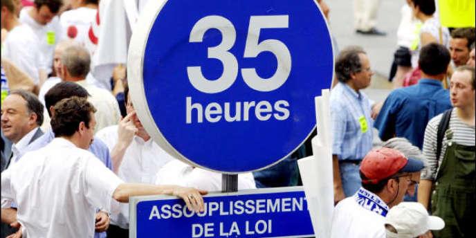 Une manifestation contre les 35 heures, à Lyon.