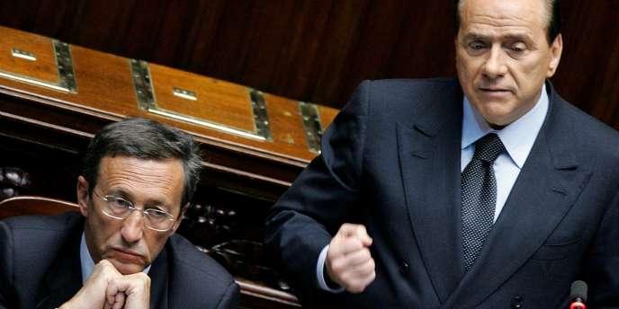 MM. Fini et Berlusconi.