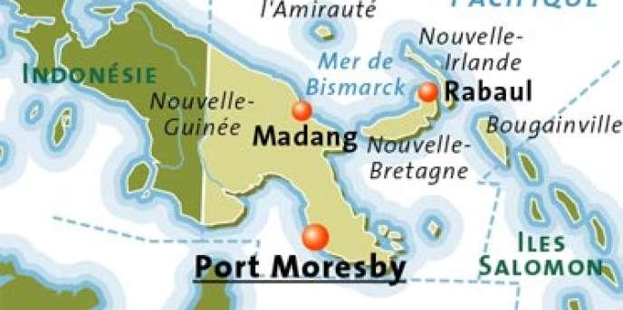 Carte de la Papouasie Nouvelle-Guinée.