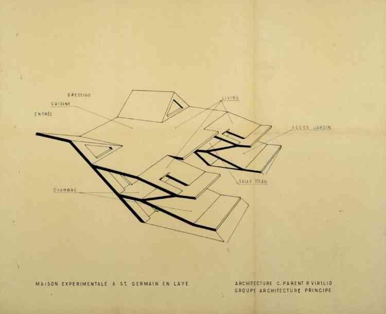 """Architecture Principe (Claude Parent & Paul Virilio), """"Maison Mariotti, Saint-Germain-en-Laye"""", 1967, encre sur papier, 46,5 × 57 cm."""