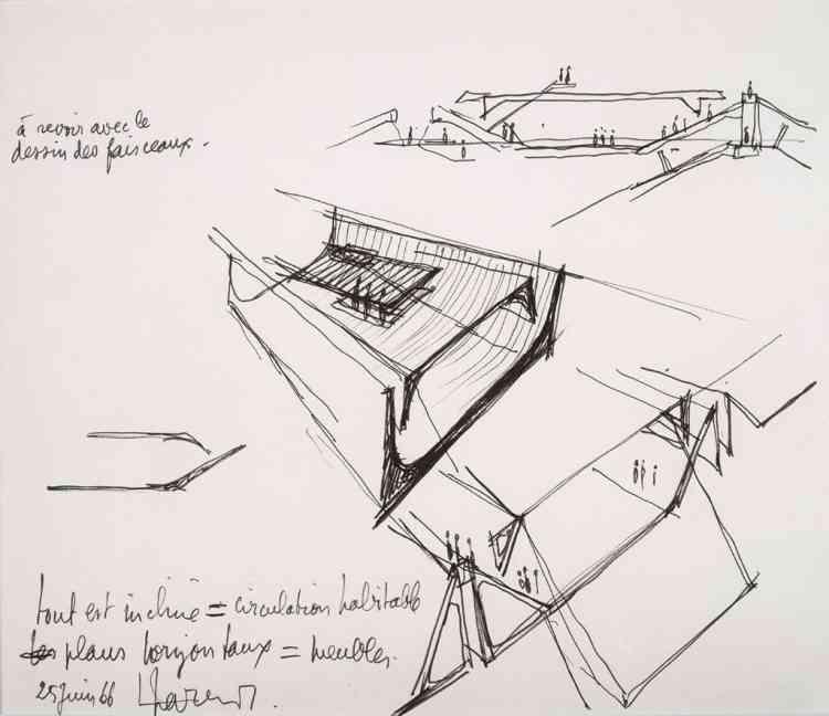 """Architecture Principe (Claude Parent & Paul Virilio), """"Tout est incliné = circulation habitable, plans horizontaux = meublés"""", 1966, encre sur papier, 22 × 26,5 cm."""