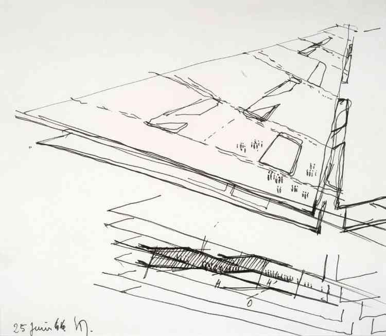 Architecture Principe (Claude Parent & Paul Virilio), Sans titre, s.d., feutre sur papier, 26,5 × 20,6 cm.