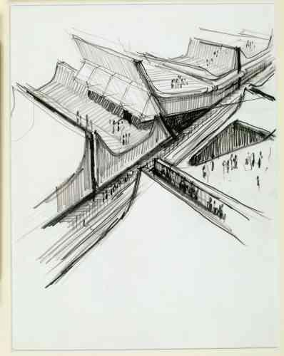 Architecture Principe (Claude Parent & Paul Virilio), Sans titre, s.d., vers 1965, feutre sur papier, 29,7 × 21 cm.