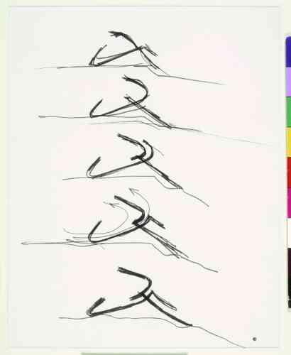 Architecture Principe (Claude Parent & Paul Virilio), Sans titre, 1966, encre sur papier, 22 × 26,5 cm.