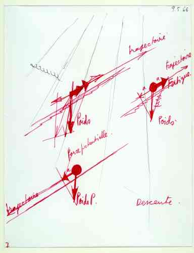 Architecture Principe (Claude Parent & Paul Virilio), Sans titre, 1966, feutre rouge et noir sur papier, 20,5 × 26,5 cm.