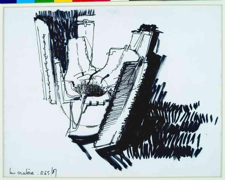 """Architecture Principe (Claude Parent & Paul Virilio), """"Immeuble cratère"""", 1965, feutre sur papier, 26,5 × 20,5 cm."""