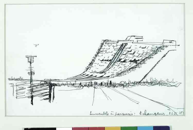 """Architecture Principe (Claude Parent & Paul Virilio), """"Immeuble à parcourir - Echangeur"""", 1965, feutre sur papier, 15,5 × 25 cm."""