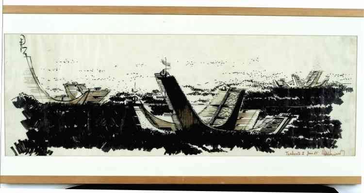 """Architecture Principe (Claude Parent & Paul Virilio), """"Les Turbosites II"""", 1965, feutre sur calque, 30,8 × 89 cm."""