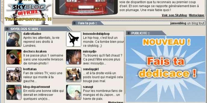 La une du site http://www.skyblog.com