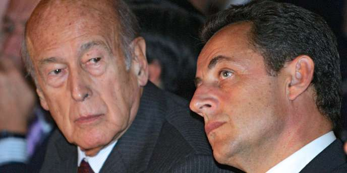 Nicolas Sarkozy et Valéry Giscard d'Estaing, le 23 septembre 2005 à la Mutualité à Paris.