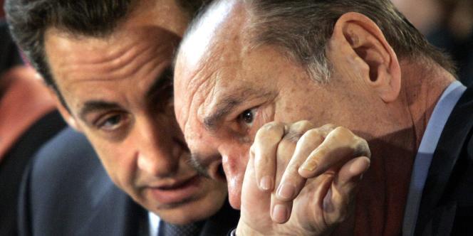 Jacques Chirac et Nicolas Sarkozy lors d'un sommet franco-espagnol, jeudi 10 novembre 2005, à Paris.