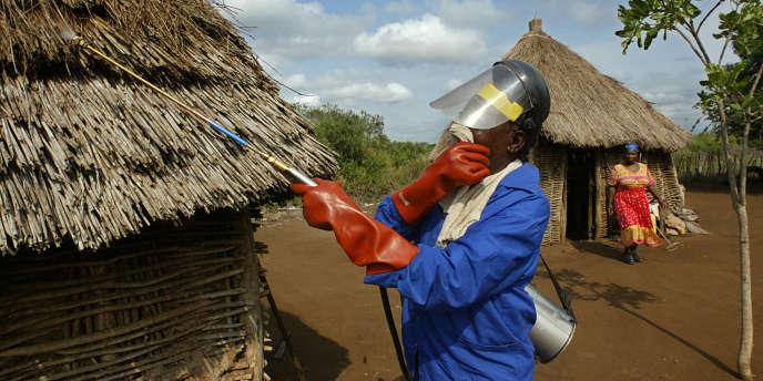 Un homme pulvérise du DDT dans un village de la région de Jozini en Afrique du Sud en avril 2003.