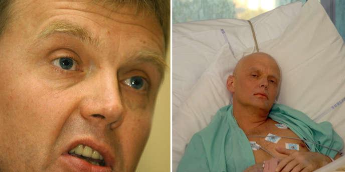 A gauche, Alexandre Litvinenko en mai 2002 à Londres. A droite, l'ex-agent russe après son empoisonnement, le 20novembre2006.