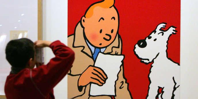 Le18 décembre 2006 au centre Georges Pompidou à Paris, lors de l'installation de l'exposition consacrée à Hergé.