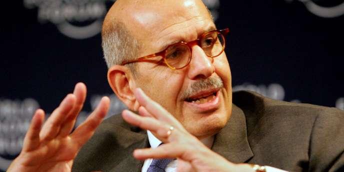 Le directeur de l'AIEA, Mohamed El-Baradei, lors d'une conférence sur la prolifération nucléaire, le 25 janvier 2007 au Forum économique de Davos.