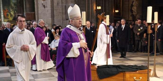 Monseigneur André Vingt-Trois lors des obsèques de l'Abbé Pierre, le 26 janvier 2007.