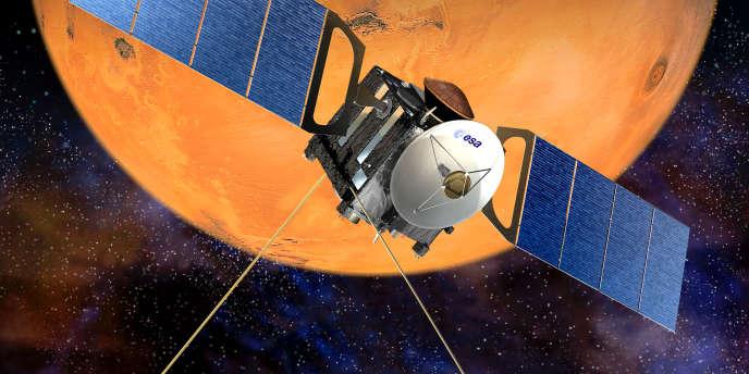 Vue d'artiste de la sonde européenne Mars Express fournier par la Nasa en décembre 2003.