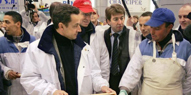 Nicolas Sarkozy à Rungis, le 1er février 2007