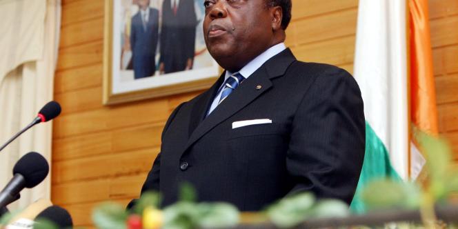 Charles Konan Banny, le premier ministre ivoirien, lors d'une conférence de presse, lundi 26 mars.