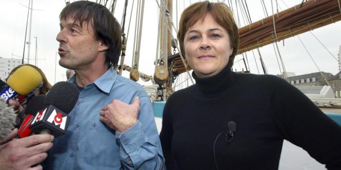 Dominique Voynet, le 26 mars 2007, sur le bateau de Nicolas Hulot à Lorient.