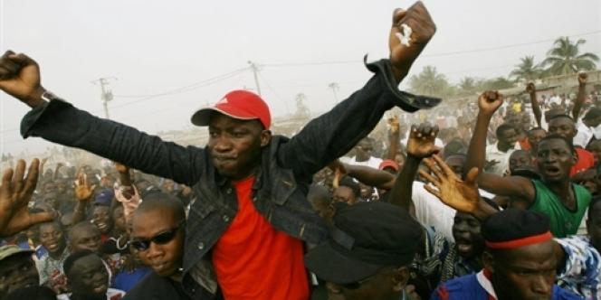 Le chef des Jeunes patriotes ivoiriens, Charles Blé Goudé, le 28 janvier 2007, dans la ville de Meagui, au sud-ouest du pays.