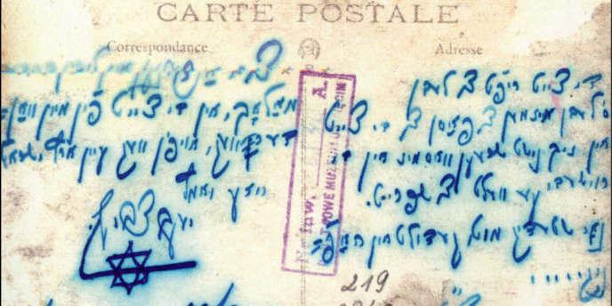 Une carte postale écrite en yiddish dans les années 1920.