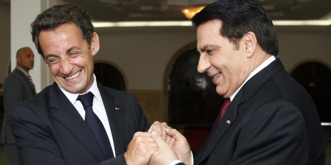 Nicolas Sarkozy et le président tunisien Ben Ali, le 10 juillet 2007.