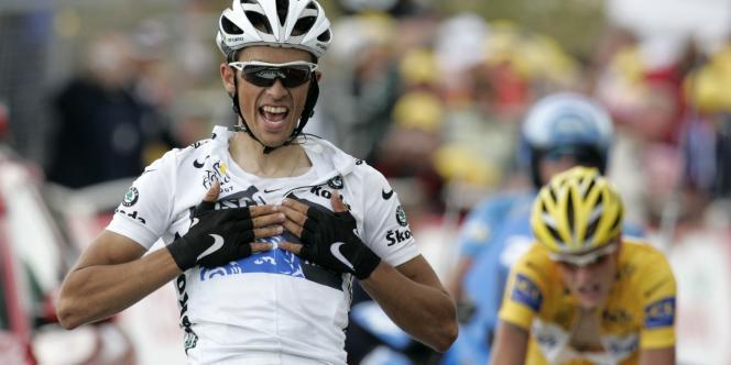 Alberto Contador, dimanche 22 juillet 2007, la 14e étape du Tour de France au sommet du plateau de Beille.