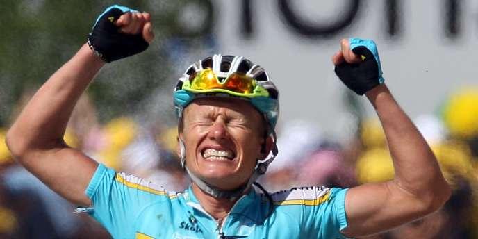 Alexandre Vinokourov, à l'arrivée de la 15e étape du Tour 2007, à Loudenvielle.