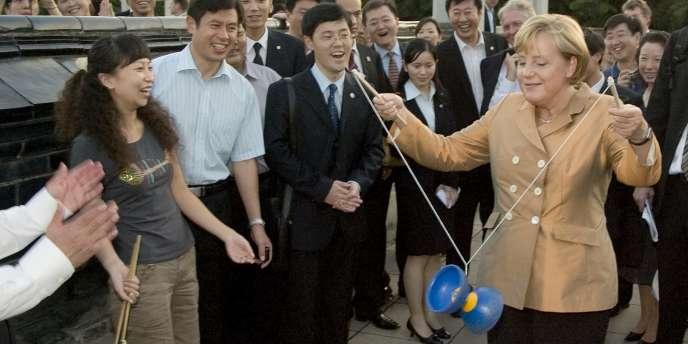 La chancelière allemande Angela Merkel à Pékin, lors d'une visite officielle en août 2007.