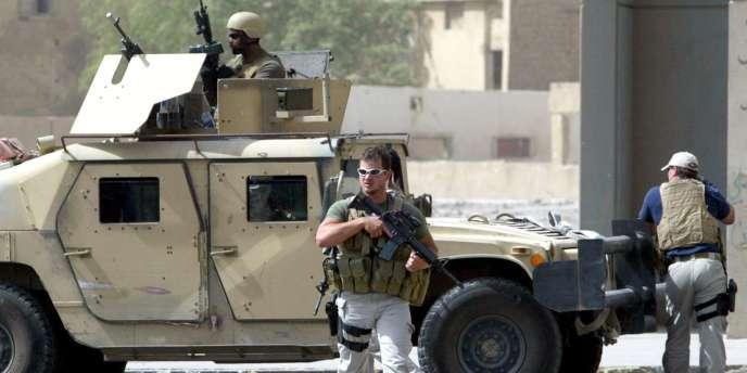 Des employés de la société Blackwater à Bagdad en juillet 2005.