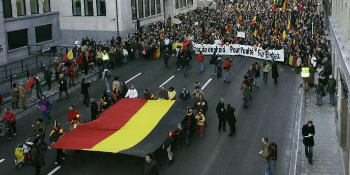 Manifestation pour l'unité de la Belgique.