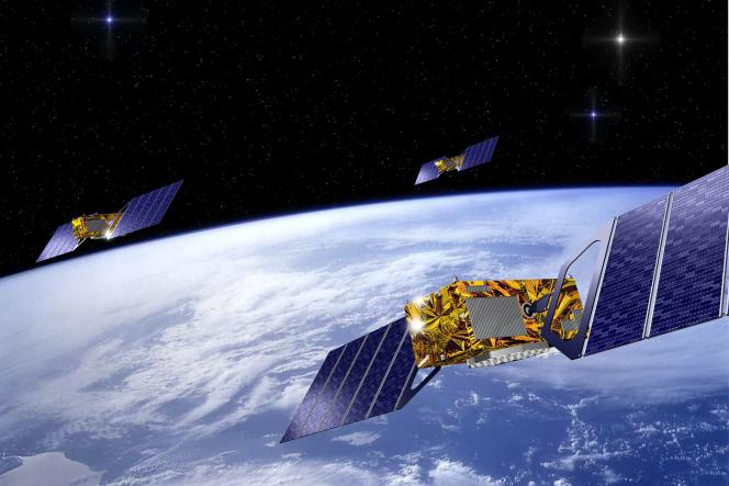 Image de synthèse montrant trois des satellites du futur système de navigation européen Galileo.