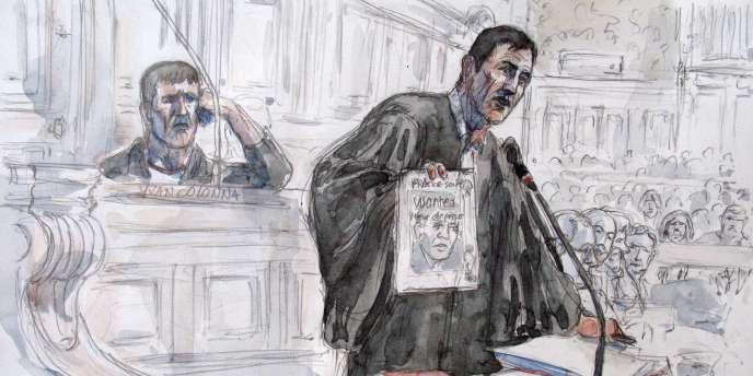 Dessin représentant Yvan Colonna et son avocat Gilles Simeoni, le 13 décembre 2007 à la cour d'assises spéciale de Paris.