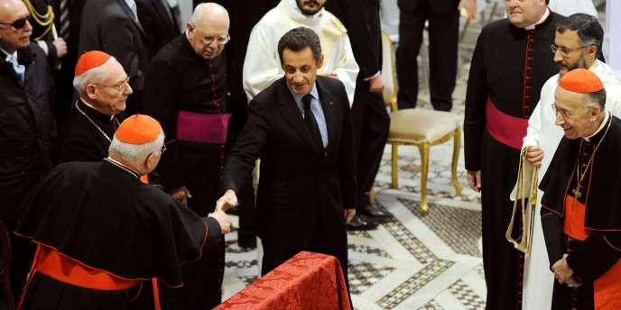 Nicolas Sarkozy, à la basilique Saint-Jean-de-Latran, lors de son intronisation comme
