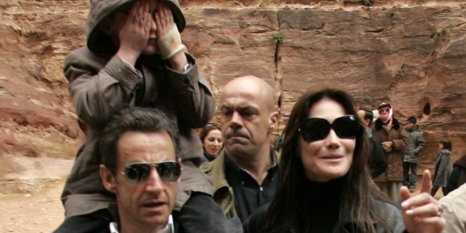 Nicolas Sarkozy et Carla Bruni à Petra, en Jordanie, le 5 janvier 2008.