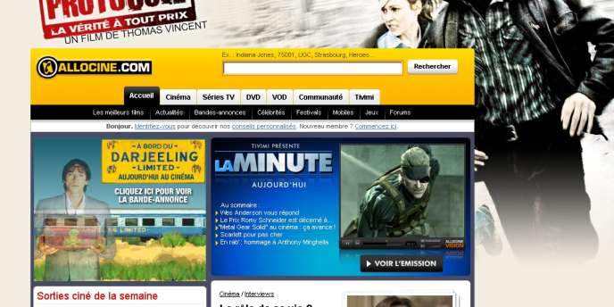 La page d'accueil du site AlloCiné.