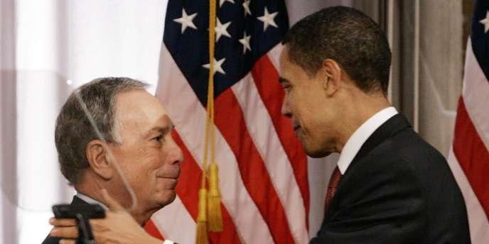 Michael Bloomberg, maire de New York, et Barack Obama, à New York, le jeudi 27 mars 2008.