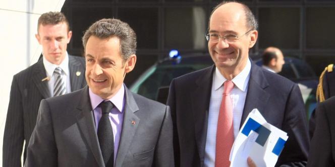 Nicolas Sarkozy et Eric Woerth, le 4 avril 2008.