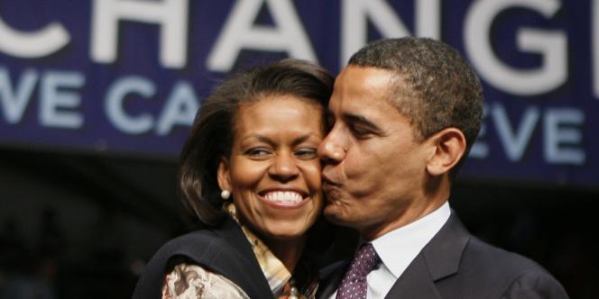 Barack Obama et sa femme dans l'Indiana après sa défaite en Pennsylvanie, le 22 avril 2008.