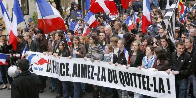 Défilé du Front national, le 1er mai 2008 à Paris.