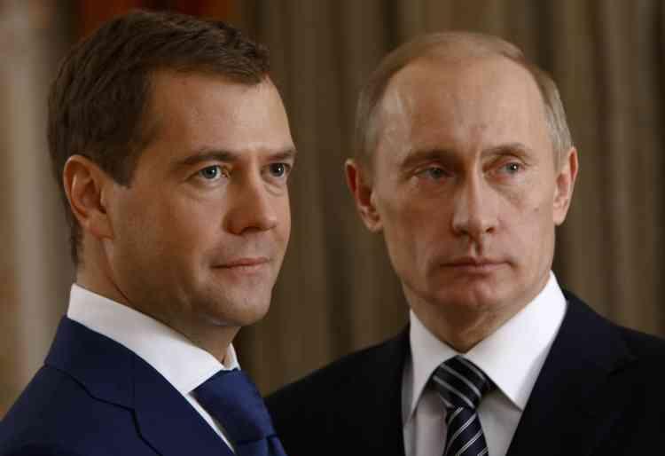 Dmitri Medvedev et Vladimir Poutine.