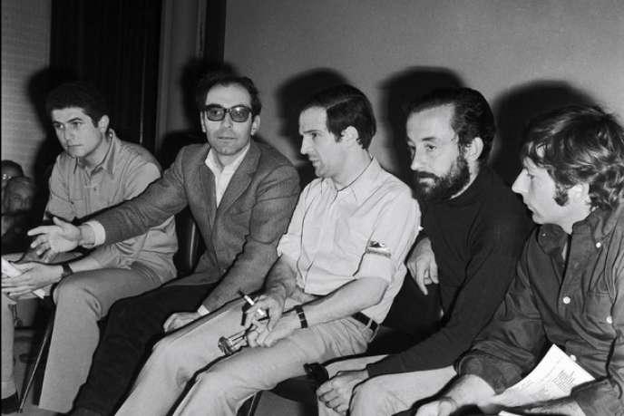 Jean-Luc Godard et François Truffaut au festival de Cannes en 1968. Jacques Siclier a été un des premiers critiques à consacrer un livre à la Nouvelle vague en 1961.
