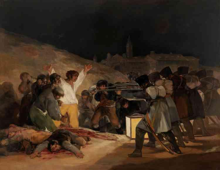 """""""Le 3 mai 1808 à Madrid : Fusillade à Príncipe Pío"""", huile sur toile."""