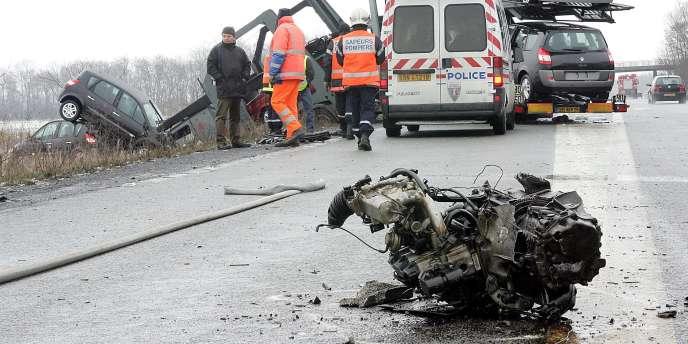 Un accident sur une route de France.
