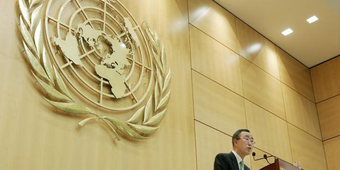 Le secrétaire général de l'ONU Ban Ki-Moon, au siège européen des Nations unies à Genève en avril 2008.