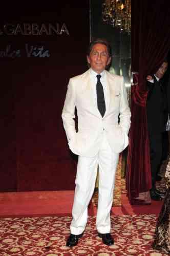 Le créateur de mode italien Valentino, lors de la fête organisée par Dolce&Gabbana à Cannes, le 23 mai 2008.
