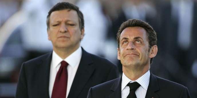Nicolas Sarkozy et le président de la Commission européenne, José Manuel Barroso, mardi 1er juillet 2008 à Paris.