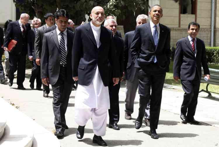 Barack Obama avec le président afghan Hamid Karzai à Kaboul, le 20 juillet 2008.