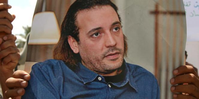 Un portrait du fils de Mouammar Kadhafi, Hannibal, à Tripoli, le 23 juillet 2008.
